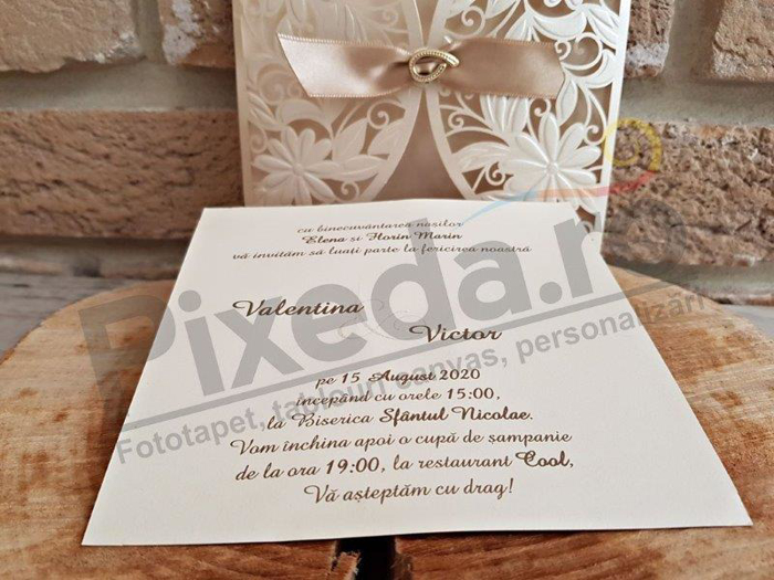 Imagine Invitatii nunta 2735 dantelă model floral