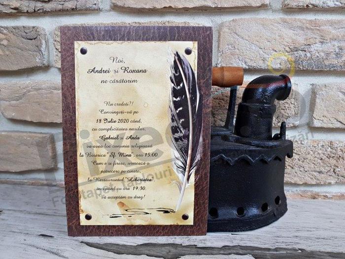 Imagine Invitatii nunta 2740 pană vintage