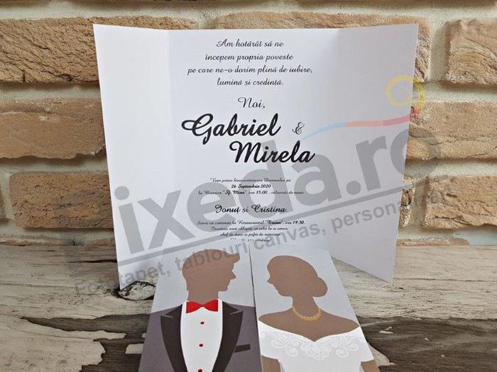 Imagine Invitatii nunta 2742 felicitare cu miri