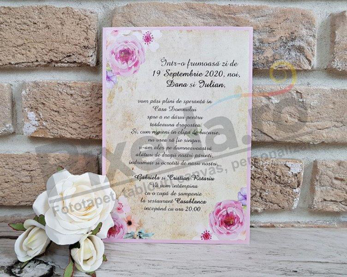 Imagine Invitatii nunta 2746 flori roz