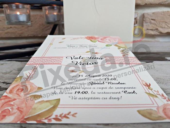 Imagine Invitatii nunta 2747 trandafiri roz deschis