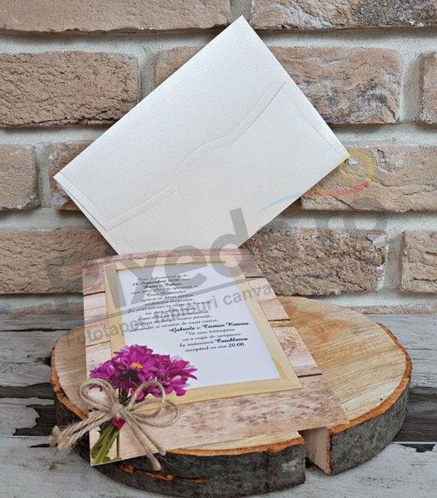 Imagine Invitatii nunta 2748 model ramă lemn 2748