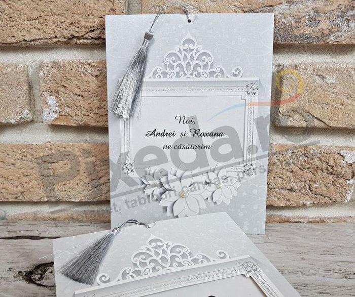 Imagine Invitatii nunta 2754 ramă cu flori