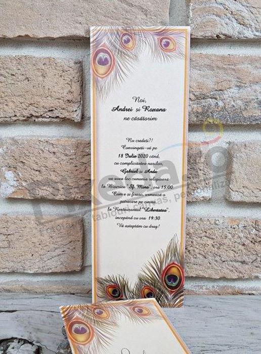Imagine Invitatii nunta 2757 pene de păun