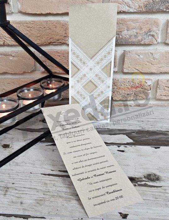 Imagine Invitatii nunta 2758 dantelă rustică