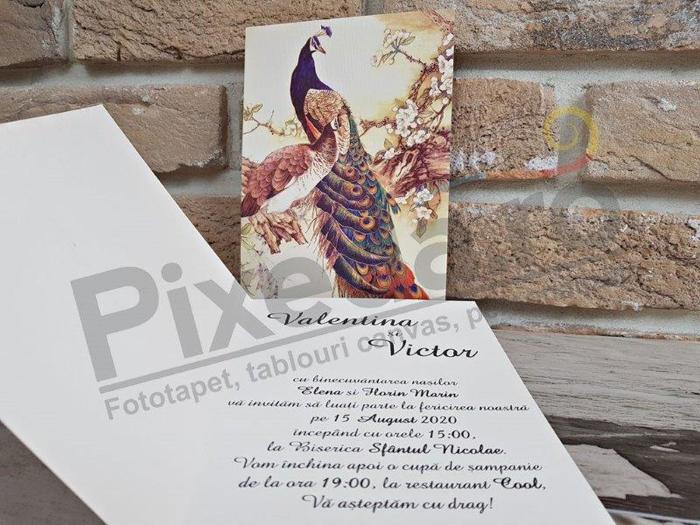 Imagine Invitatii nunta 2765 păun
