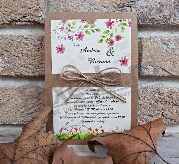 Imagine Invitatii nunta 2766 flori natură