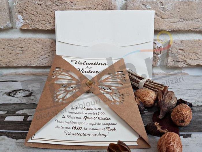Imagine Invitatii nunta 2767 dantelă fluture