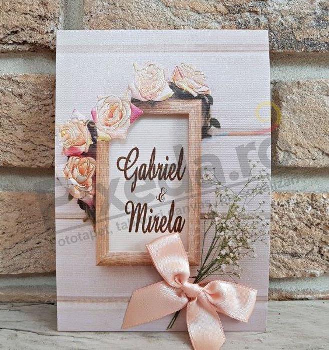 Imagine Invitatii nunta 2768 ramă lemn și flori