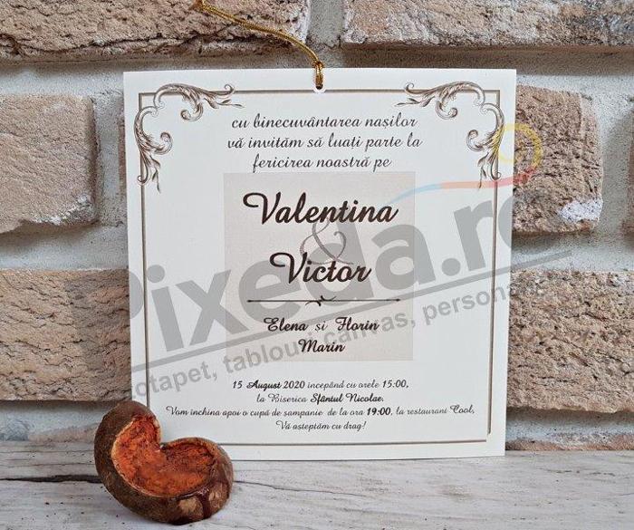Imagine Invitatii nunta 2770 decorațiuni aurii