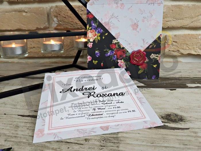 Imagine Invitatii nunta 2773 motive florale  și sigiliu