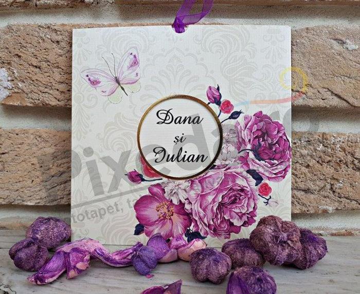 Imagine Invitatii nunta 2777 bujori mov și fluture
