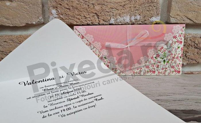 Imagine Invitatii nunta 2779 motive florale și dantelă