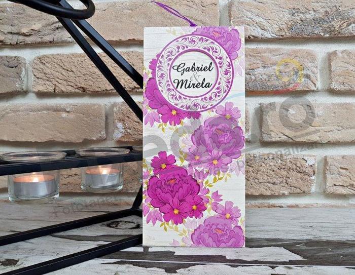 Imagine Invitatii nunta 2782 motive florale roz și decupaj