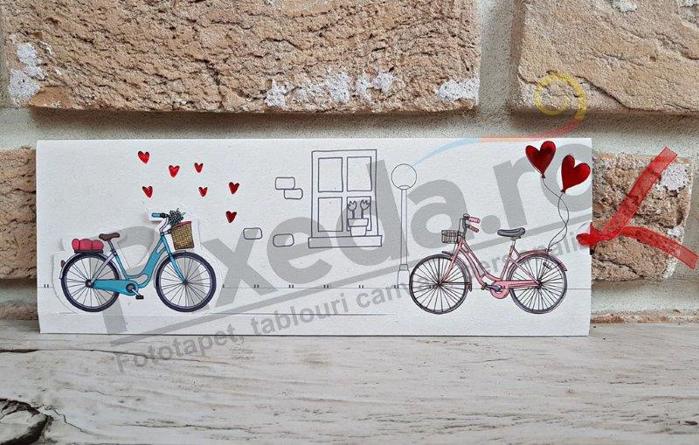 Imagine Invitatii nunta 2786 inimioare și biciclete