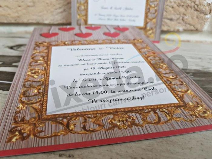 Imagine Invitatii nunta 2788 inimioare roz