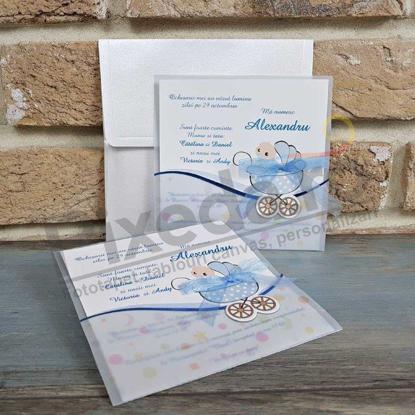 Imagine Invitatii de botez 8022 cărucior albastru