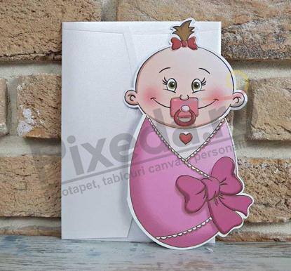 Imagine Invitatii de botez 8023 roz bebeluș fetiță