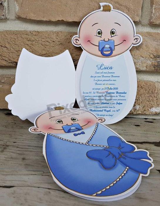 Imagine Invitatie de botez 8024 albastră bebeluș băiețel