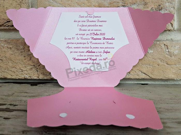 Imagine Invitatii de botez 8025 scutecel roz și fundiță