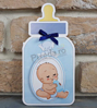 Imagine Invitatii de botez 8030 biberon albastru și bebeluș