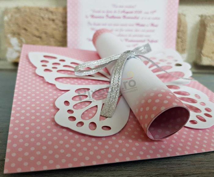 Imagine Invitatii de botez 8031 roz cu fluturaș 3D