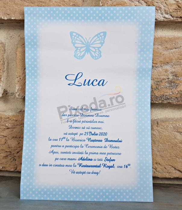 Imagine Invitatie de botez 8032 albastră cu fluturaș 3D
