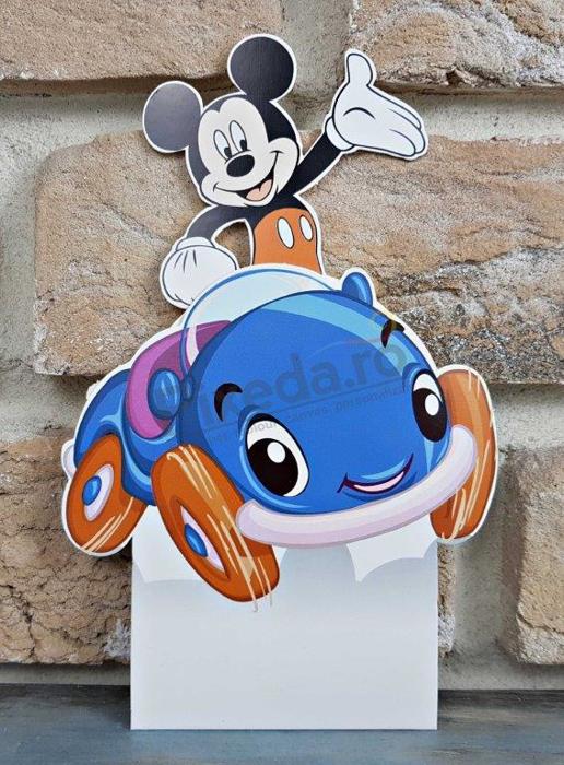 Imagine Invitatii de botez 8037 mașinuță albastră și Mickey Mouse