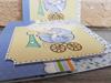 Imagine Invitatii de botez 8038 cărucior albastru cu fundiță