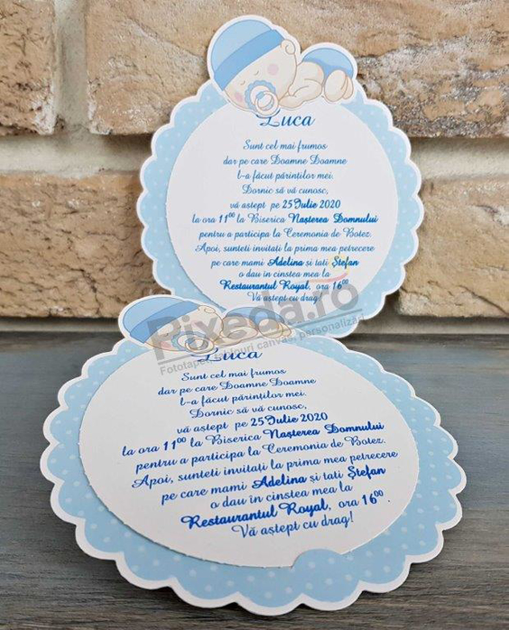 Imagine Invitatie de botez 8041albastră cu model floare