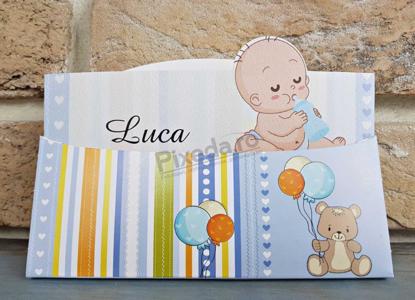 Imagine Invitatie de botez 8042 3D cu bebeluș și ursuleț