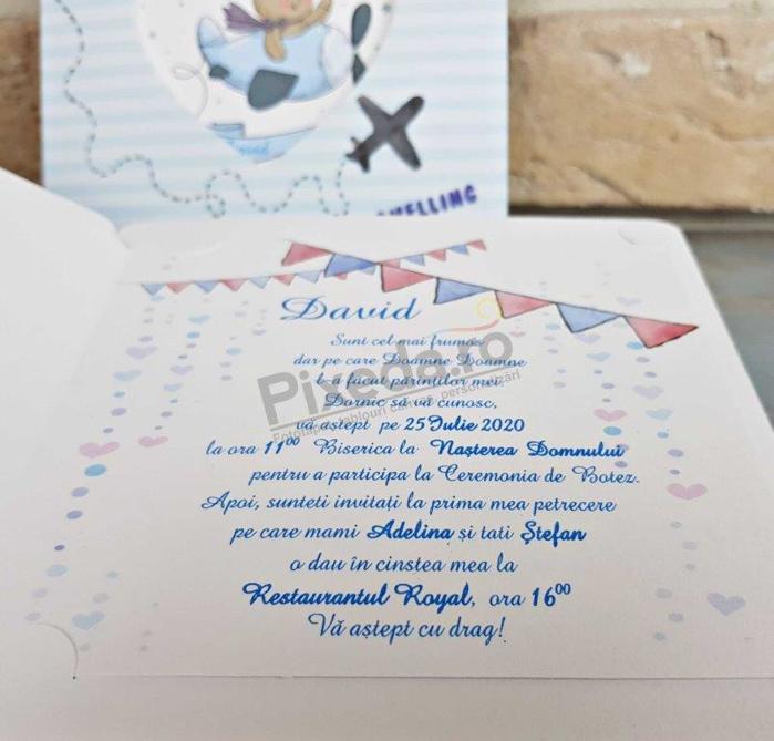 Imagine Invitatii de botez 8043 ursuleț și avion