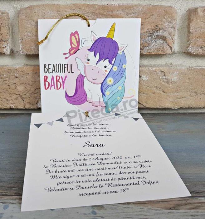 Imagine Invitatii de botez 8049 unicorn multicolor