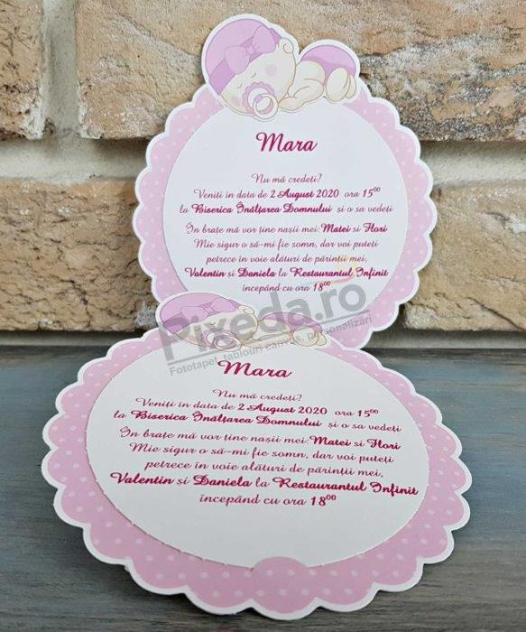 Imagine Invitatii de botez 8053 roz cu model floare