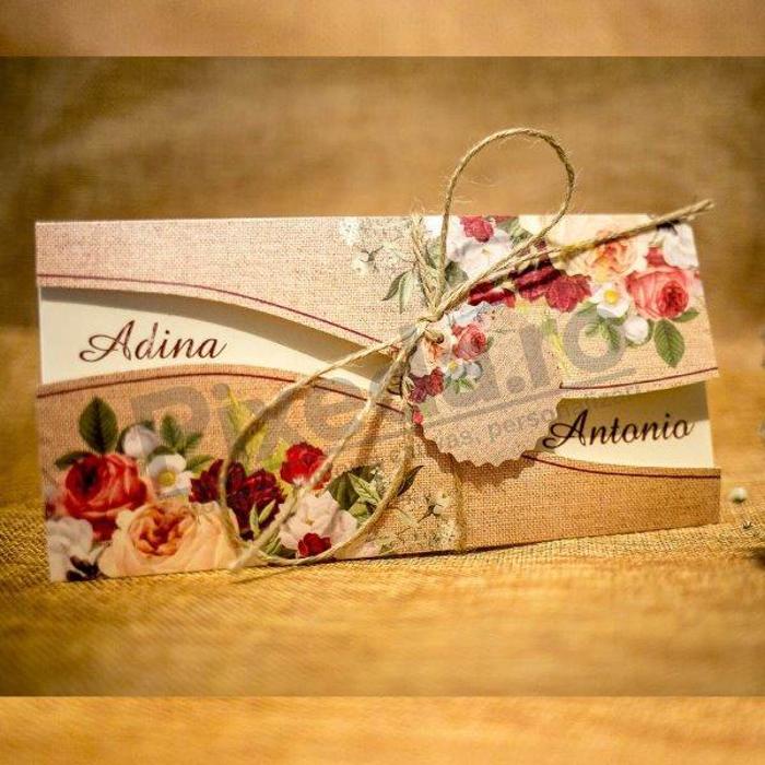 Imagine Invitatii nunta 2021 rustic floral