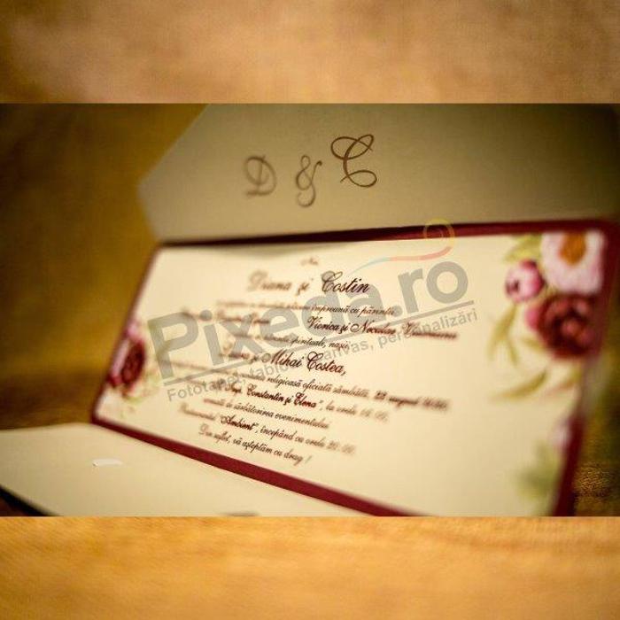 Imagine Invitatii nunta 2033 ornament bujori