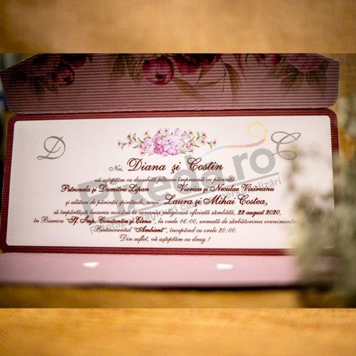 Imagine Invitatii nunta 2034 roz striații