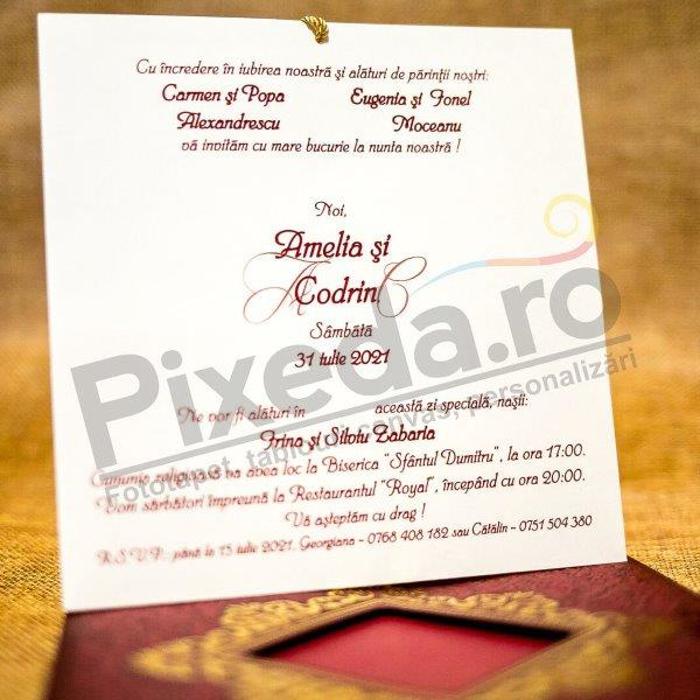 Imagine Invitatii nunta 2039 vișinie cu ciucure auriu