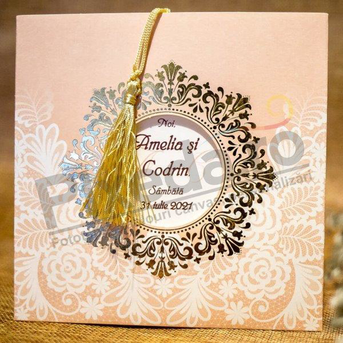 Imagine Invitatii nunta 2040 decupaj  și ciucure auriu
