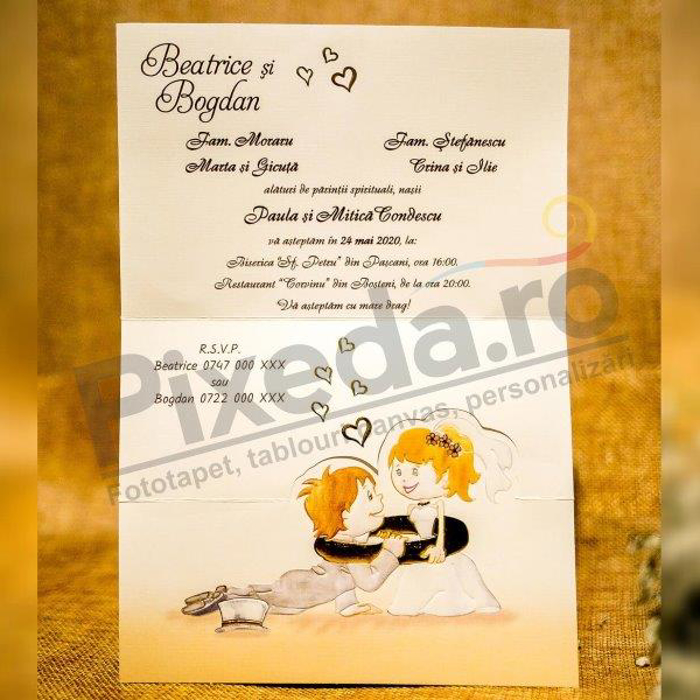 Imagine Invitatii nunta 3283 model amuzant miri