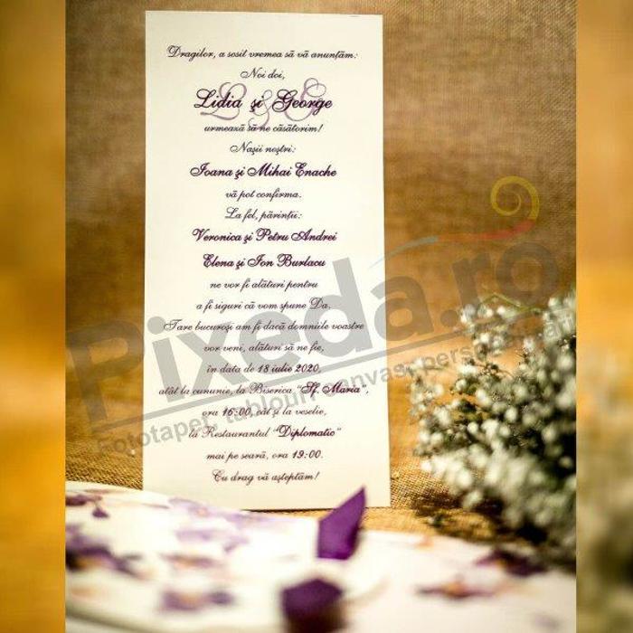 Imagine Invitatii nunta 4003 flori mov și panglică
