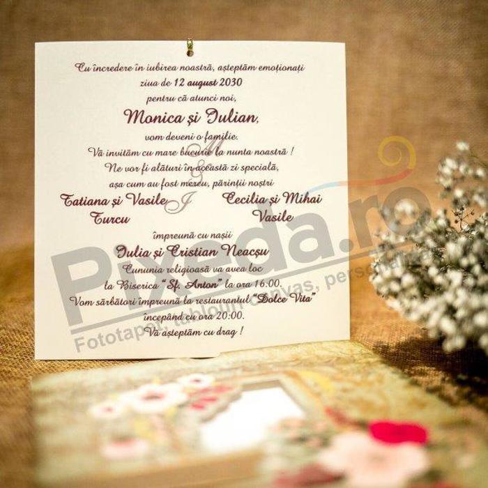Imagine Invitatii nunta 4004 model rustic și decupaj