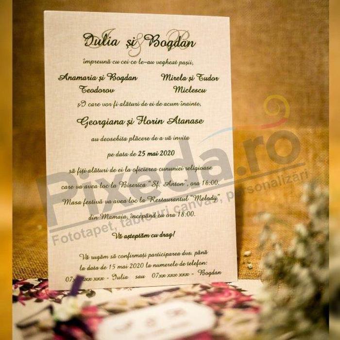 Imagine Invitatii nunta 4012 motive florale stil rustic