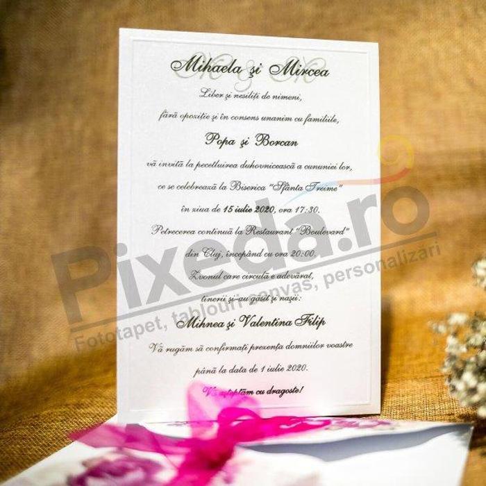 Imagine Invitatii nunta 4013 panglică fucsia