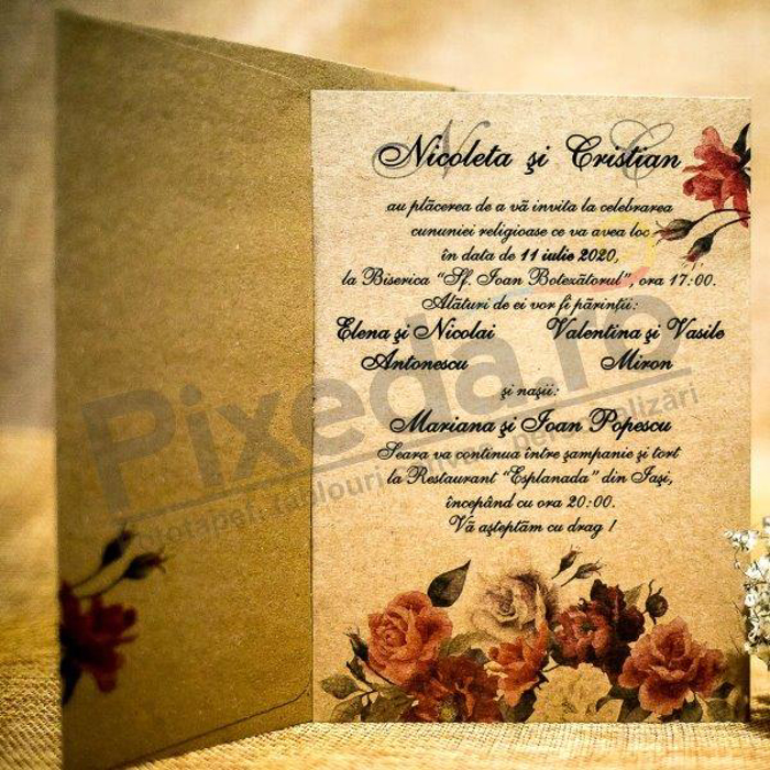Imagine Invitatii nunta 4028  flori de toamnă
