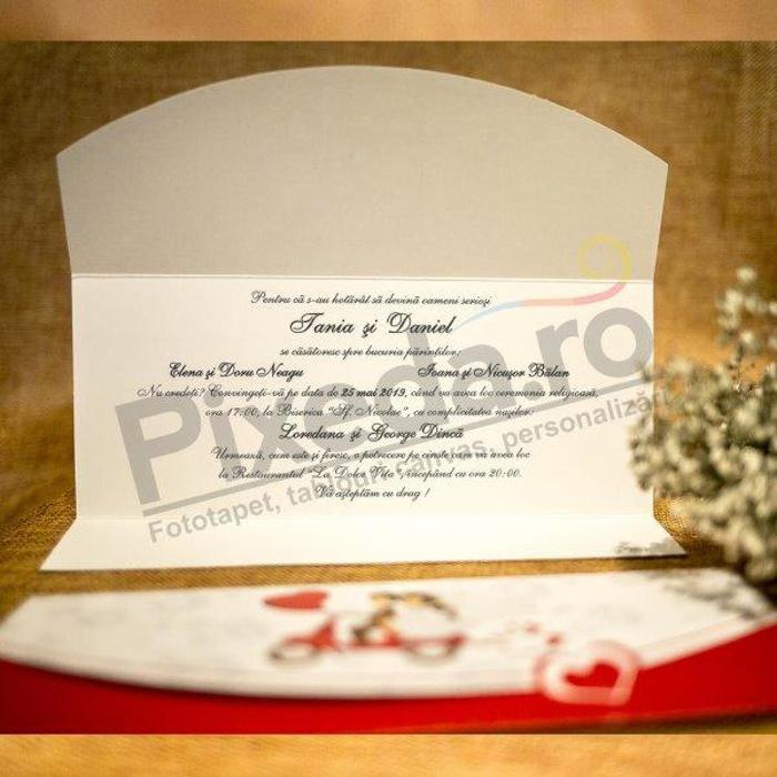Imagine Invitatii nunta 5001 motocicletă și inimioară