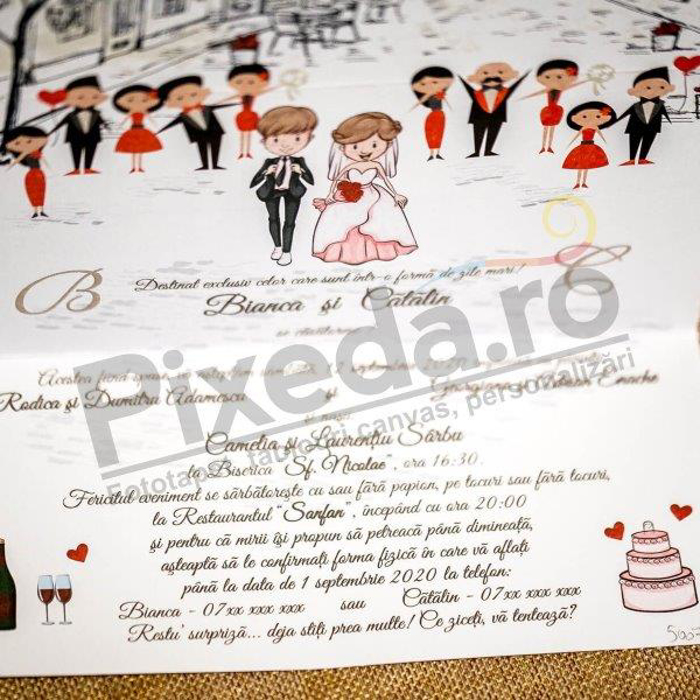 Imagine Invitatii nunta 5007 tort  și miri