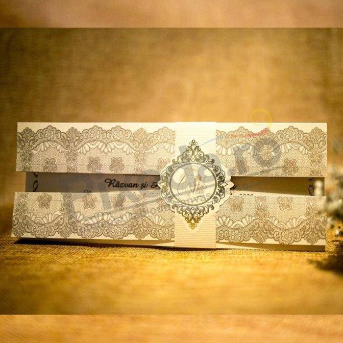 Imagine Invitatii nunta 5026 design elegant cu bentiță