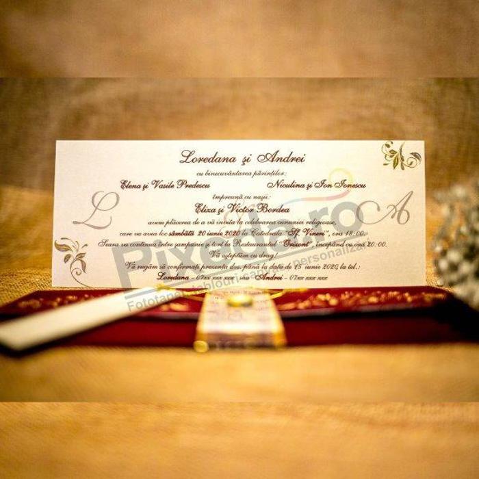 Imagine Invitatii nunta 6039 bijuterie și catifea vișinie