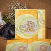 Imagine Invitatii de botez 117 galbenă cu ursuleț de pluș